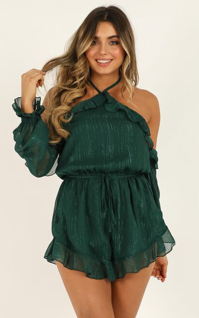 So Awake Playsuit in emerald - 20 (XXXXL), Green, hi-res image number null