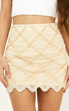 Stay Til Morning Skirt In Gold Sequin