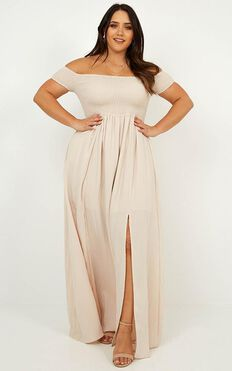 Game Changing Maxi Dress In Natural Linen Look