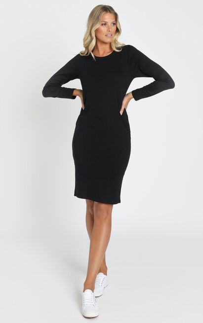 AS Colour - Mika Organic LS Tee Dress in Black - 6 (XS), Black, hi-res image number null