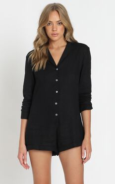 Island Time Playsuit in Black Linen Look