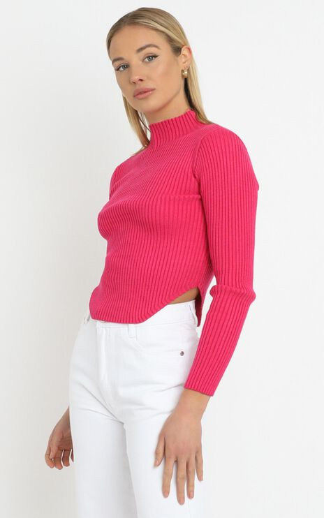 Davis Knit Top in Hot Pink