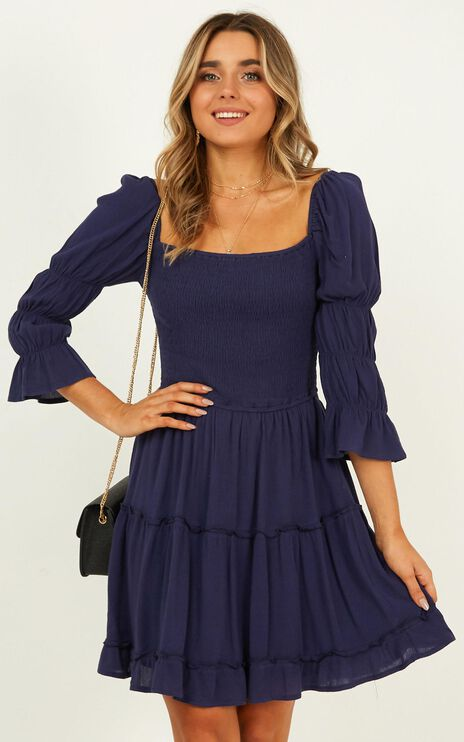 A Good Name Dress In Navy