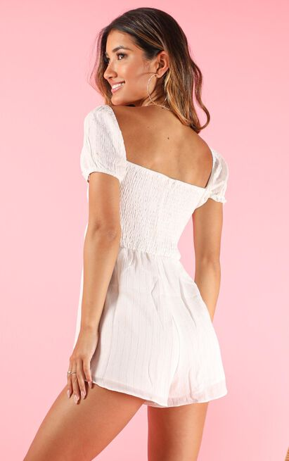 Gonna Be Playsuit in white lurex stripe - 20 (XXXXL), White, hi-res image number null