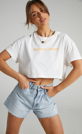 Abrand - A Cropped Oversized Tee in White Sand