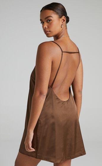 Elif Dress in Chocolate Satin