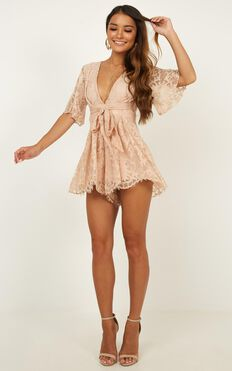 Break The Bar Playsuit In Blush Lace