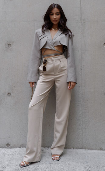 Lorcan High Waisted Tailored Pants in Stone