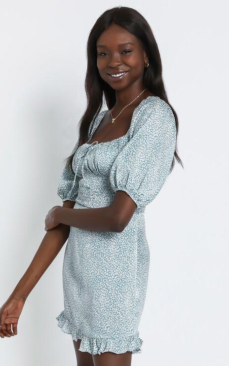 Livia Dress in Teal Print