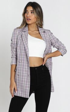 Sort It Out Blazer In Lilac Check