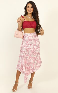 Minor Details Skirt In Pink Floral Satin