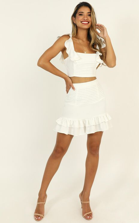Make Me Stay Two Piece Set In White
