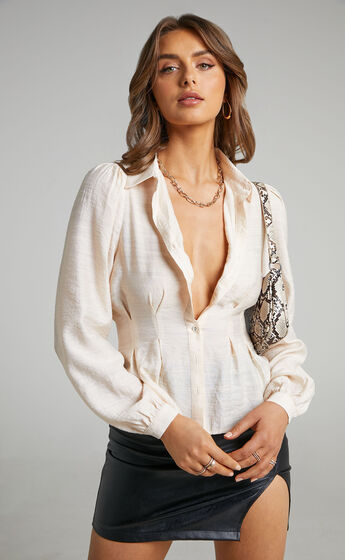 Cristales Button Front Balloon Sleeve Shirt in Cream