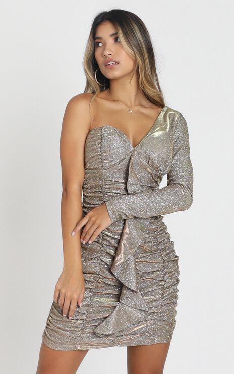 Saskia Dress in Gold Glitter