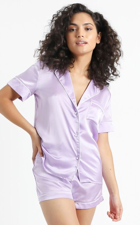 Sleep All Day Top in Lilac Satin