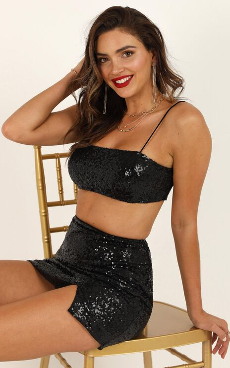 No Invite Necessary Top In Black Sequin