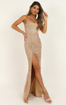Say Its Not So Dress In Rose Gold Glitter