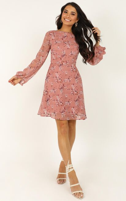 Girls Chat Dress in rose floral - 20 (XXXXL), Blush, hi-res image number null