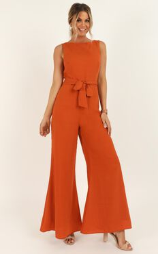 Leave Me In Paradise Jumpsuit In Rust
