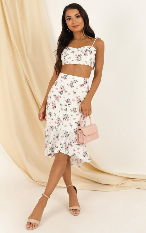 Any Time Two Piece Set In White Floral