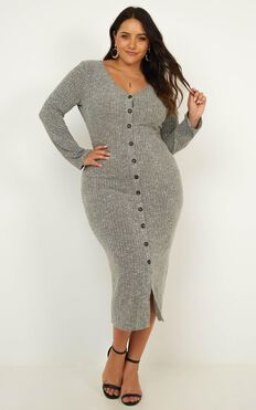 By The Bonfire Dress In Grey Marl