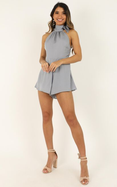 High Tide Playsuit in dove blue satin - 20 (XXXXL), Blue, hi-res image number null