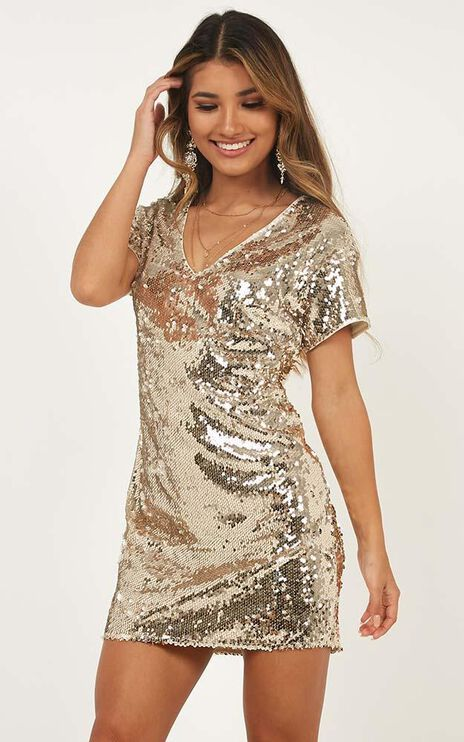 Space Bar Dress In Gold Sequin