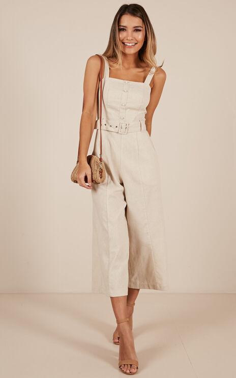 What If Jumpsuit In Beige Linen Look