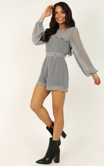 Time Well Spent Playsuit in black check - 20 (XXXXL), Black, hi-res image number null