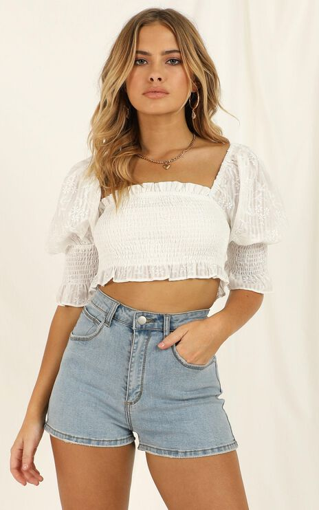 Touched By An Angel Top In White Embroidery