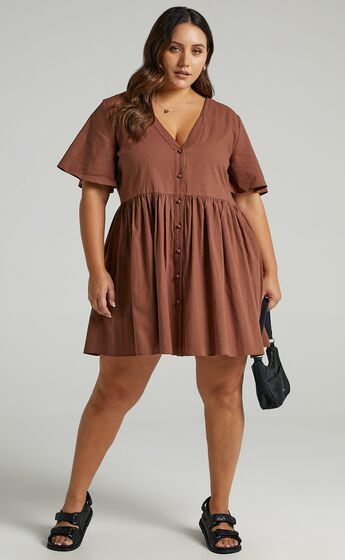 Staycation Smock Button Up Mini Dress in Chocolate