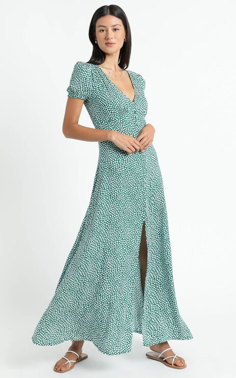Flaming Hot Maxi Dress In Green Floral