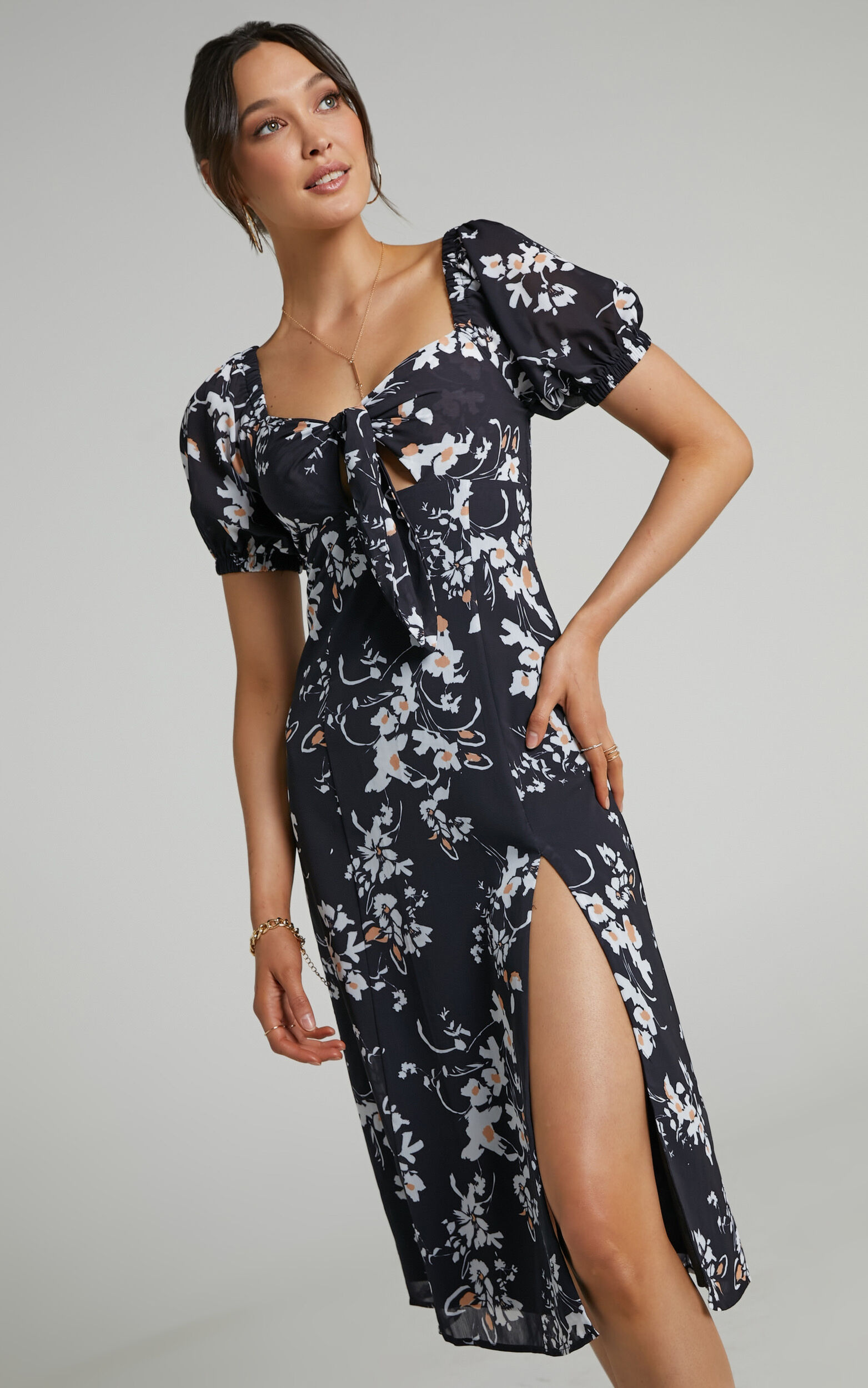 Cyia Tie Bust Midi Dress with Leg Slit in Black Floral - 04, BLK2, super-hi-res image number null