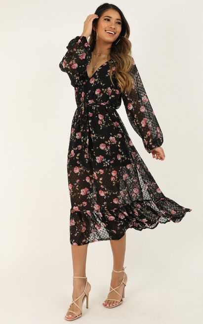 Take Your Sweet Time Dress in black floral - 20 (XXXXL), Black, hi-res image number null