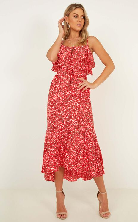 Chasing Butterflies Dress In Red Floral
