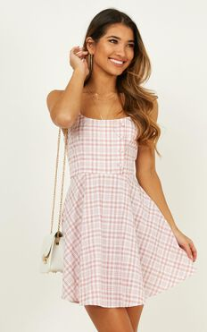 Pleasant Day Dress In Blush Plaid