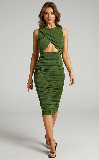 Selita Ruched High Neck Midi Dress in Khaki