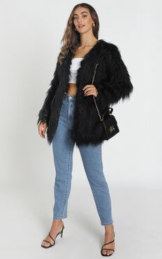 Faux Real Coat In Black