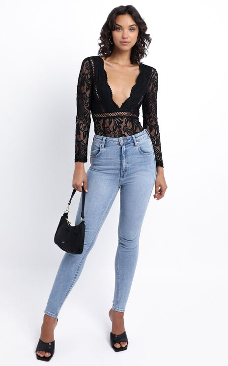 Love Buzz Bodysuit In Black Lace