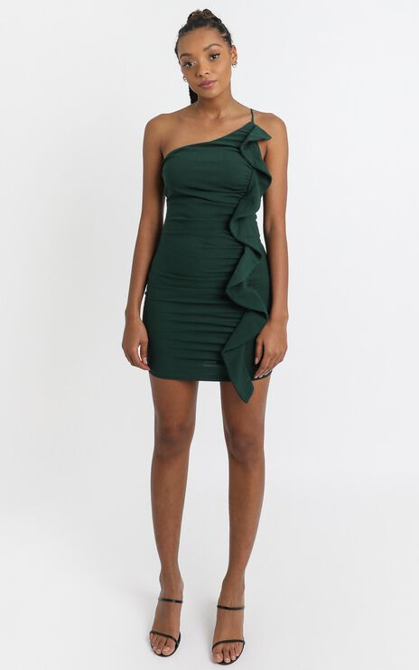 Angelina Bodycon Frill Dress in teal