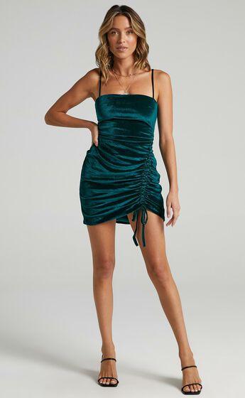 Beyond It Dress in Teal velvet