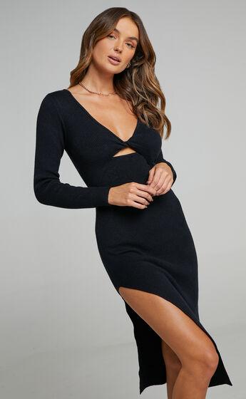 Irmia Twist Front Knit Midi Dress in Black