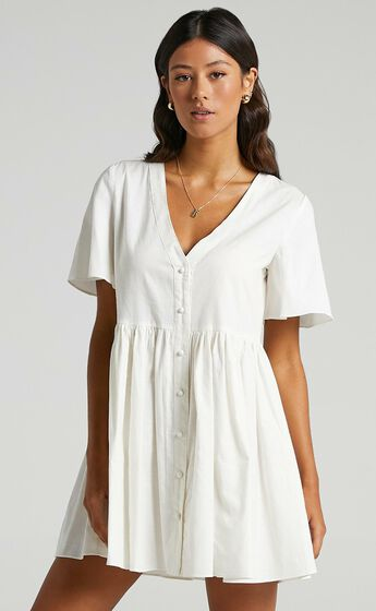 Staycation Smock Button Up Mini Dress in White