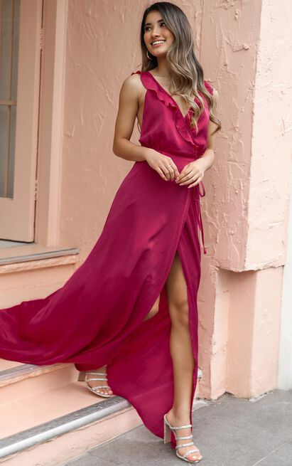 Losing My Edge Dress in raspberry satin - 20 (XXXXL), Pink, hi-res image number null