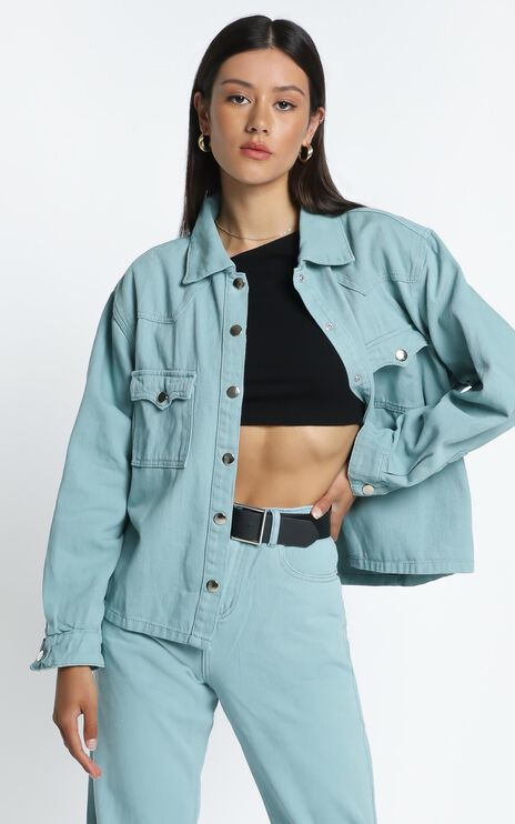 Alyssandra Denim Jacket in Sage