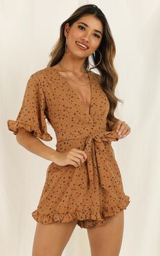 Lots Of Friends Playsuit In Tan