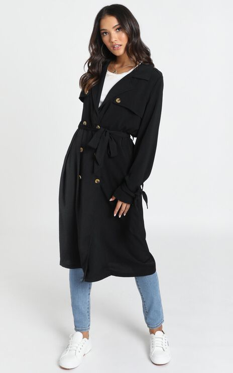 Stepping It Up Trench Coat In Black