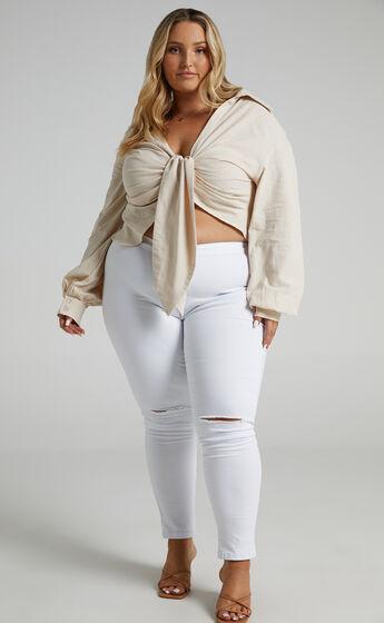 Bella Skinny Jeans in White Denim