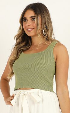 Noticed Knit top In Khaki