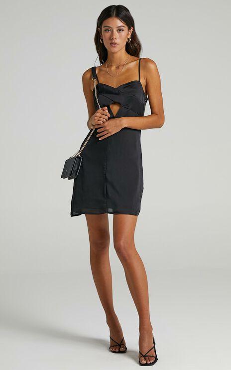 Kenzin Dress in Black Satin